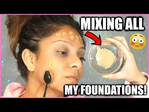 MIXING ALL MY FOUNDATIONS TOGETHER!│SHOCKED AT THE RESULTS...FLAWLESS COVERAGE OR A NASTY DISASTER?!