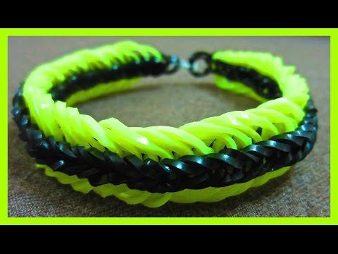 Rainbow Loom Bracelet Super 6 Six Link Fishtail without Loom/ on 2 Pencils.