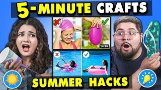 Generations React To And Try 5-Minute Crafts (Summer Hacks - Do They Work?)