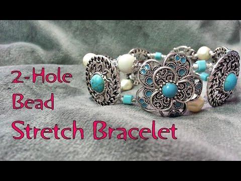 2 Hole Bead Stretch Bracelet Tutorial - Make a Stretch Bracelet Using 2-Hole Beads