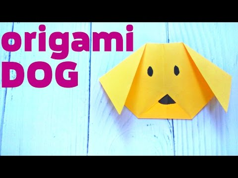 ORIGAMI dog face animals easy tutorial 3d instructions. Origami diagrams for children, for beginners