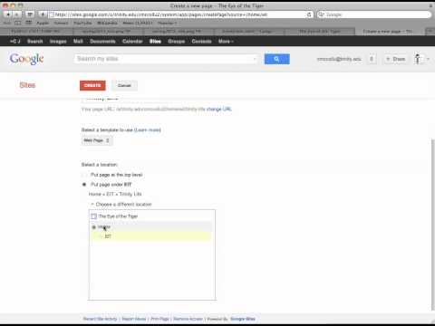 Adding, Moving, Deleting Pages in Google Sites