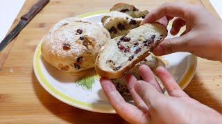 无糖无油果干面包,不用揉面,简单做法超好吃!婆婆说这样的面包可以开店了