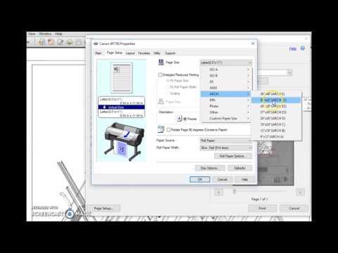 Setting PDF Blueprint Sizes On Canon Plotter Print Driver