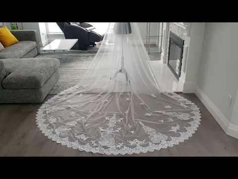 Bridal Veil Sequined Lace With Appliques Cathedral Length