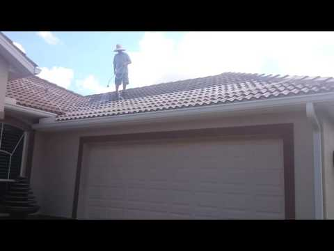 Soft wash Pressure Clean on a barrel tile roof