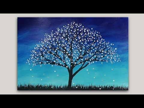 Surreal Fantasy Tree Acrylic Painting Abstract Silhouette Landscape