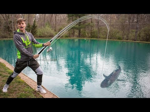 FISHING FOR SHARK IN POND!! (CAUGHT IT)