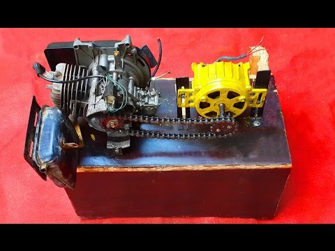 Homemade Dynamo Generator 220V Attached To Two Stroke Engine. DIY Free Electricity Dynamo Generator.