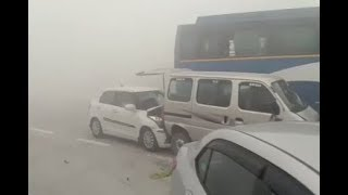 Pile up in India: Moment several cars collide due to thick smog