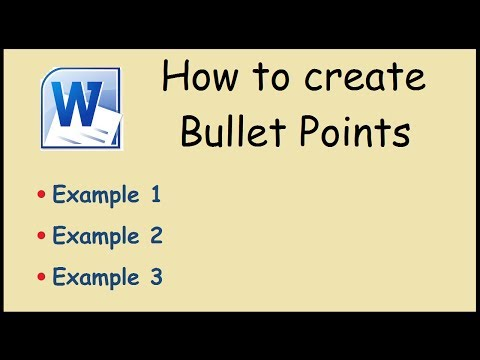 How to create bullet points in Microsoft Word 2010