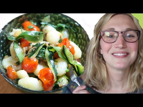 Gnocchi with zucchini ribbons and cherry tomatoes recipe
