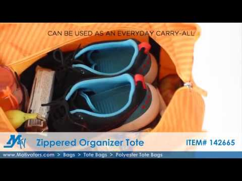 Polyester Tote Bags - Zippered Organizer Tote | Video Product Demo