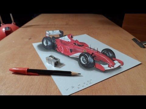 How I Draw a 3D Ferrari Formula 1 Car, Trick Art by Vamos