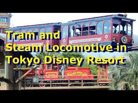 2016-06-20 Tram and Steam Locomotive in Tokyo Disney Resort