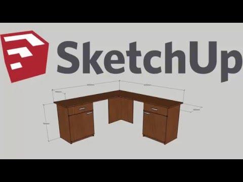 Simple modern plywood corner computer desk - Google SketchUp Make 2016 HD