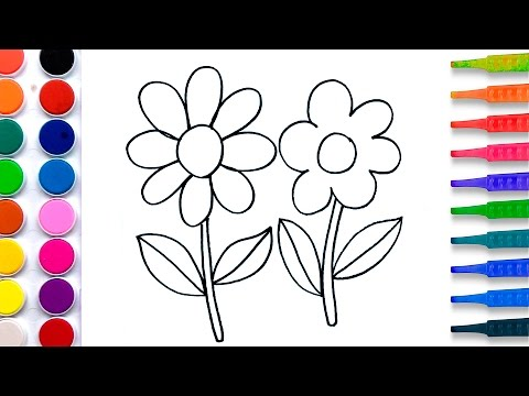 Flowers Coloring Pages Salt Painting for Kids | Fun Art Learning Colors Video for Children