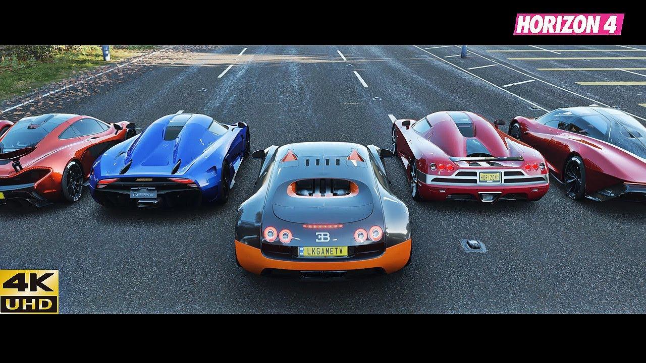 Forza Horizon 4 - Top 22 Fastest Speed Hypercars Drag Race
