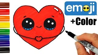 How to Draw + Color a Heart Emoji step by step Easy and Cute