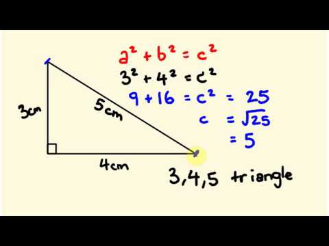 Pythagorus' Theorum - Math Lesson 3,4,5 triangle