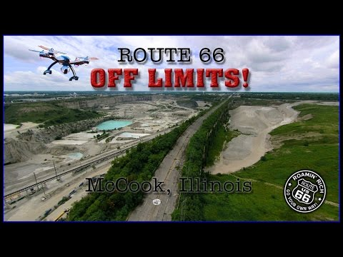Route 66 - OFF LIMITS - Joliet Road in McCook, Illinois.  Aerial video of Vulcan quarry