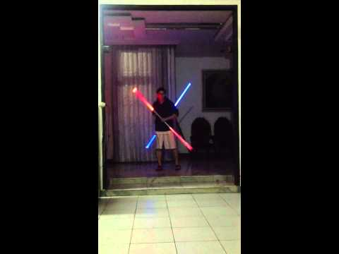 Lightsaber staff dual double flourish spinning