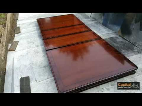 High gloss table - Acid polished lacquer, Refinishing veneered table top