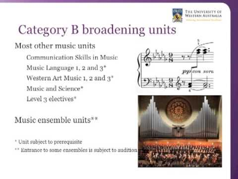 UWA Bachelor of Arts - Music Broadening Units