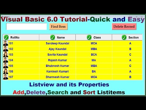 Visual Basic tutorial |Add Delete Search and Sort Listitems in Listview  control