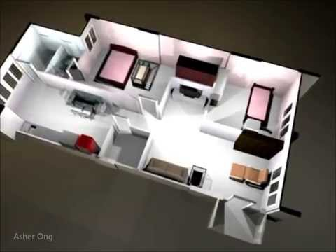 HDB 3NG (Modified) Corner, floor plan, 3 room flat, 3d render layout re-configuration
