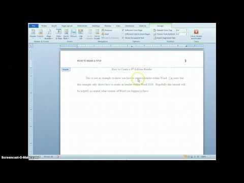 Creating a Header and Title Page in 6th Edition APA