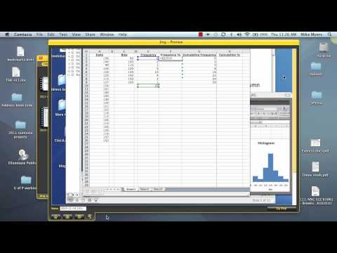 Making a Frequency Table in Mac Excel 2004 2007 2010