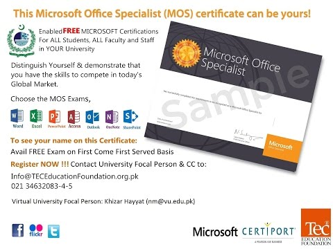 Microsoft Office Specialist MOS – Announcement and Training Material
