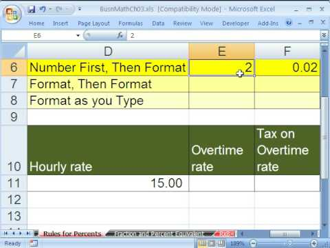 Excel Busn Math 23: Rules For Percents In Excel - Percentage