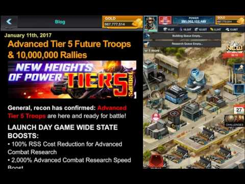 Mobile Strike ADVANCED T5 TROOPS AND 10,000,000 TROOP RALLIES ARE HERE!!!