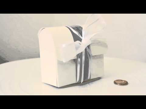 White w/Silver Band Favor Box - Trunk/Treasure Chest - Pack of 200