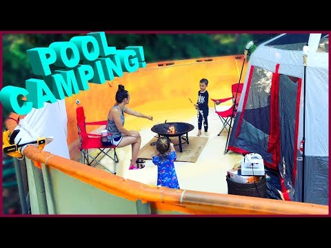 ⛺Camping in a Swimming Pool!!