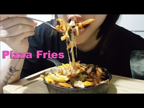 BEST Cheesy Pizza Fries : ASMR / Mukbang ( Cooking & Eating Sounds )