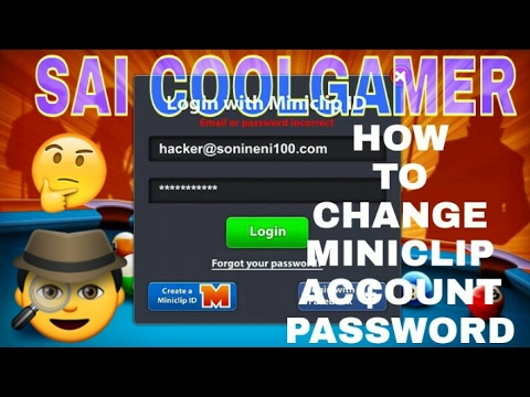 How to change miniclip account password