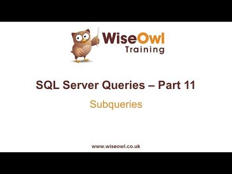 SQL Server Queries Part 11 - Subqueries