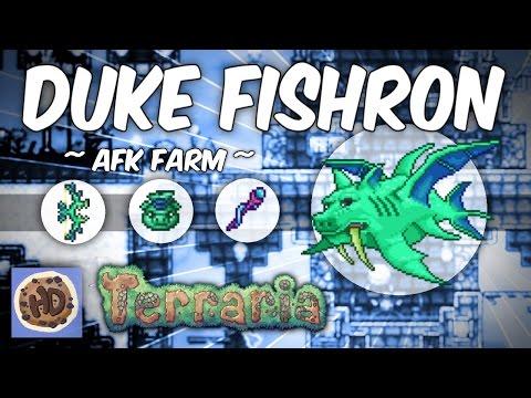 Terraria 1.3 AFK Duke Fishron Farm | Easy Loot! (1.3 bosses)