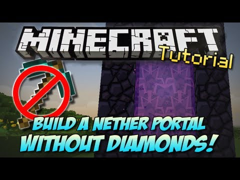 Minecraft | BUILD A NETHER PORTAL WITHOUT DIAMONDS?! | How To/Tutorial [PC & XBOX]