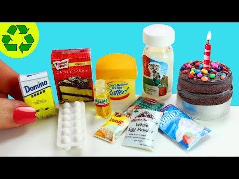 How to Make Miniature Cake Supplies + Mini Cakes - 10 Easy DIY Miniature Doll Crafts