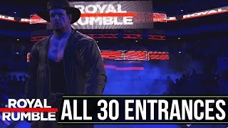 WWE ROYAL RUMBLE 2017 - ALL 30 Entrances of the Rumble Match (WWE 2K17)