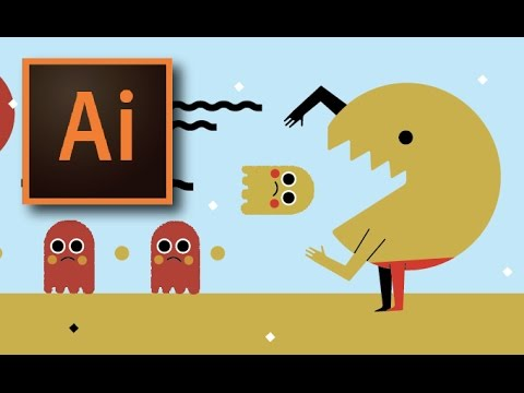 PACMAN ARCADE SPEEDART | ADOBE ILLUSTRATOR CC | GRAPHIC DESIGN CHARACTER ILLUSTRATION TUTORIAL DEMO