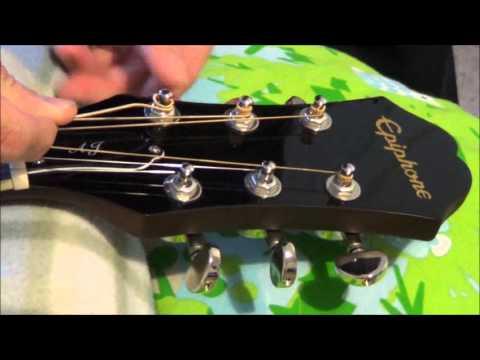 Epiphone AJ-220S Acoustic Guitar Stock Strings and D'Addario EZ900 Extra Light - Sound Comparison