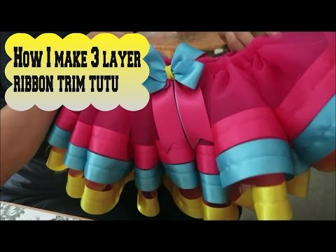 How I make 3 layer ribbon trim tutu vlog - April 2 2016 (day 323)