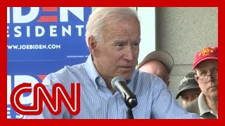 Joe Biden addresses heckler at Iowa rally