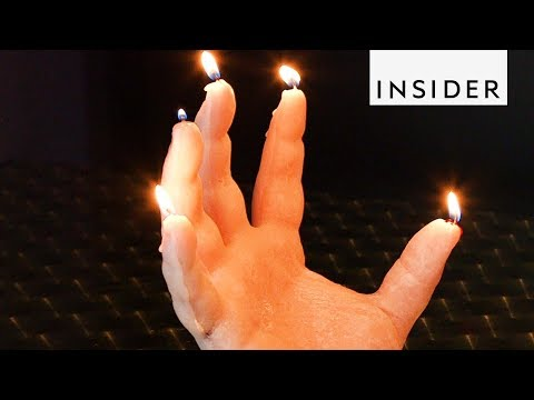 Creepy Hand Candle Drips Blood as it Burns