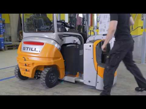 Electric forklift truck RX 20   Lateral battery change